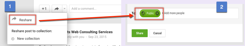 Resharing Google Plus Posts in Public Mode