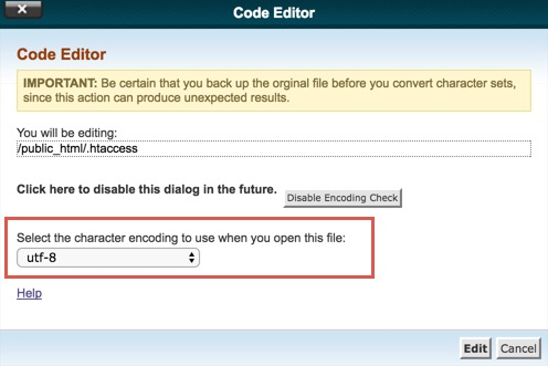 Select Character Encoding for Editing htaccess