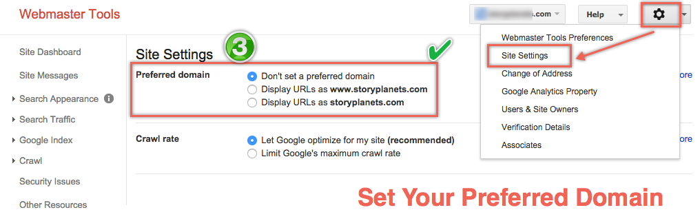 Setting Preferred Domain