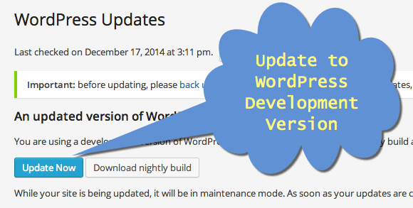 Updating WordPress Development Version
