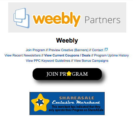 Weebly Affiliate through Shareasale