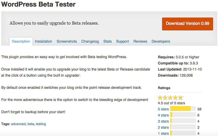 WordPress Beta Tester Plugin