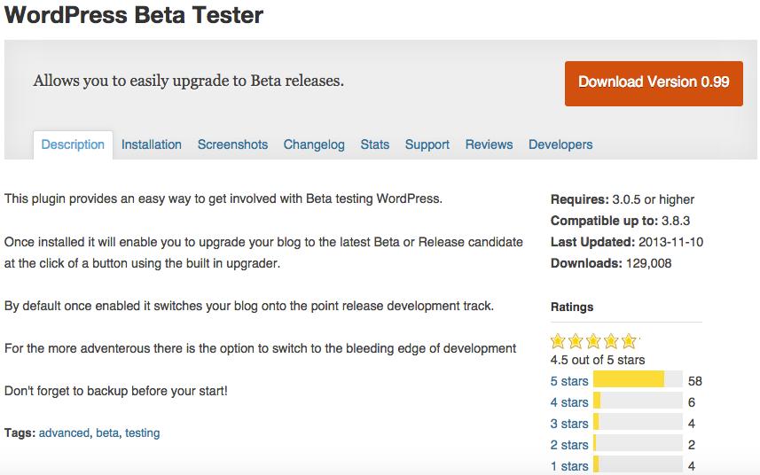WordPress Beta Tester Plugin