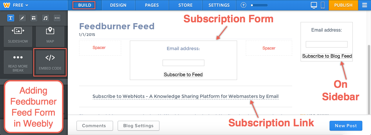 Adding Feedburner Feed in Weebly