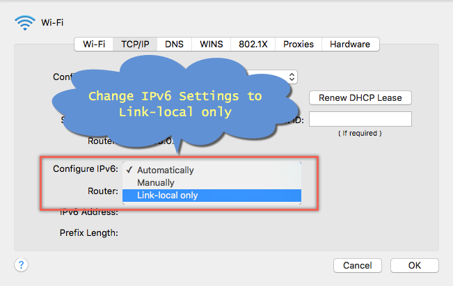 Change IPv6 Settings in Mac