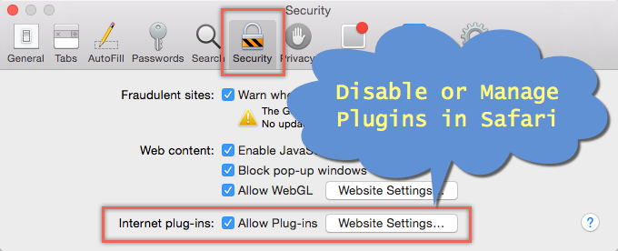 Disable and Manage Plugins in Safari