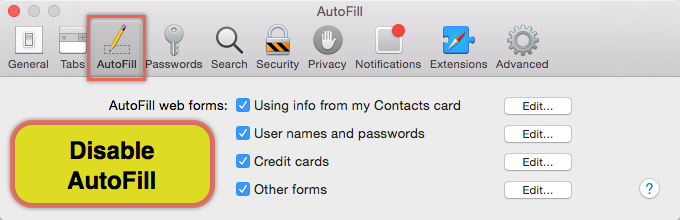 Disabling AutoFill in Safari