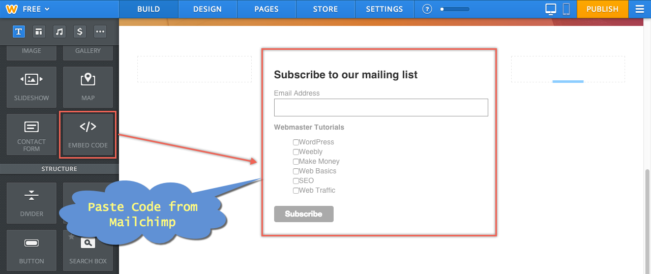Embedding Mailchimp Signup Form in Weebly