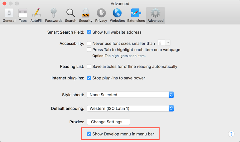 Enable Developer Menu in Safari