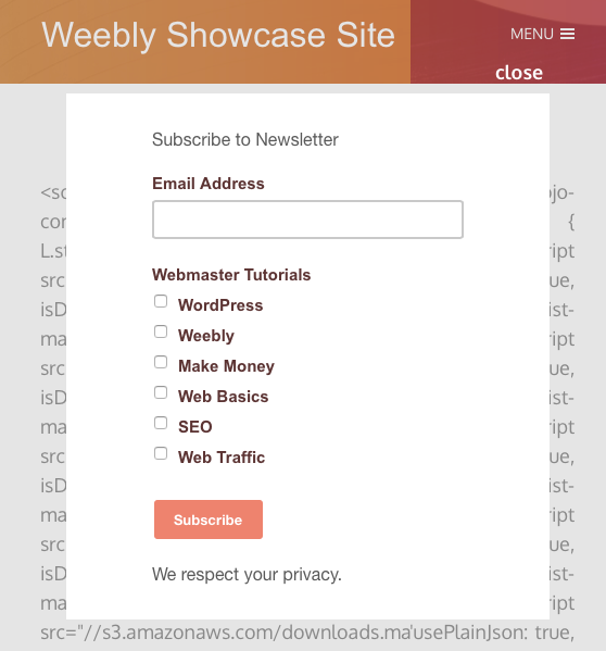 Mailchimp Popup Signup Form in Weebly Site