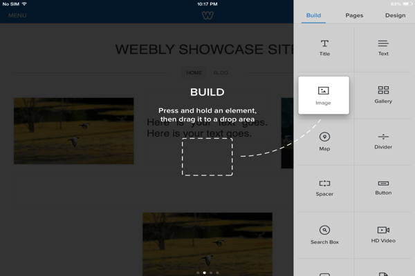 Weebly iPad App Site Builder Elements
