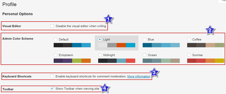 WordPress User Profile Personal Options
