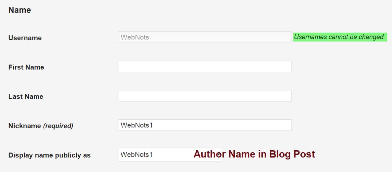 WordPress Username Settings