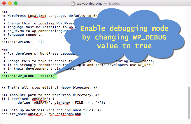 Enable Debug Mode in WordPress