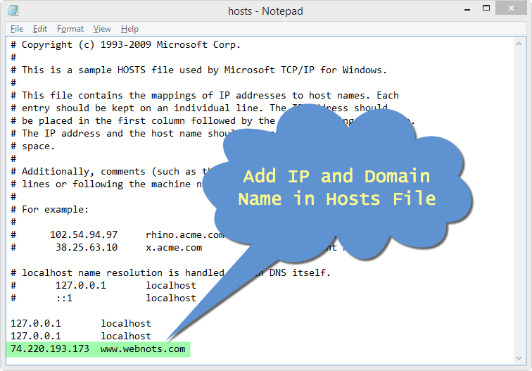 Adding IP and Domain in Hosts File in Windows 8