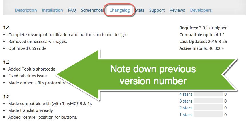 Check Previous Plugin Version in WordPress