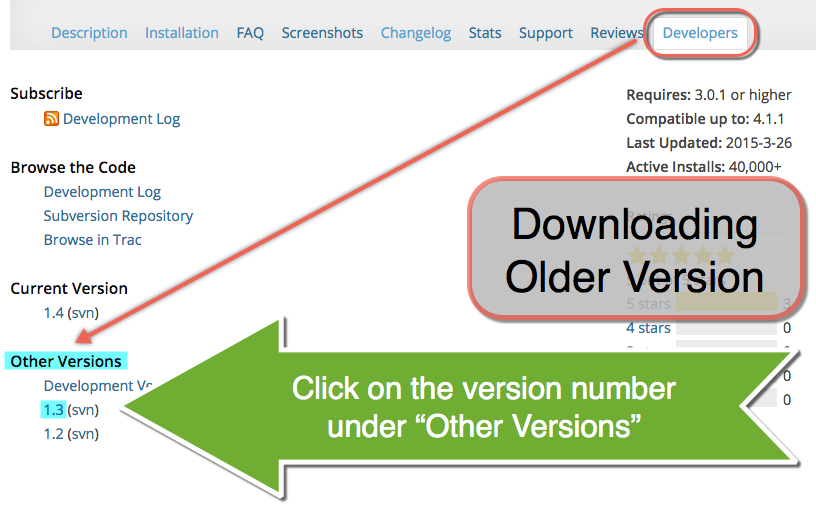 Downloading Older Version of a Plugin in WordPress