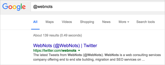 Getting Twitter Profile with @ in Google Search