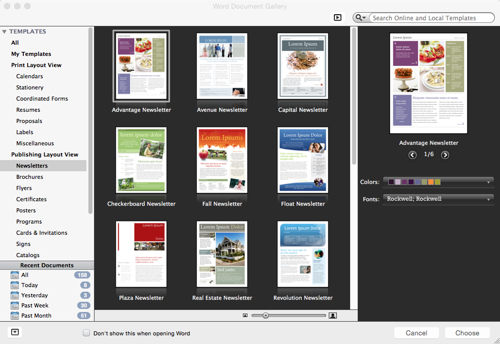 Newsletter Layouts in Microsoft Word for Mac