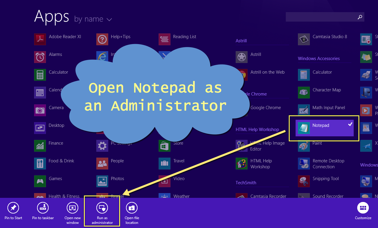 Open Notepad as an Administrator in Windows 8.1
