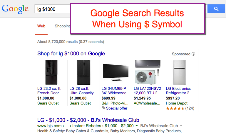Using $ Symbol in Google Search