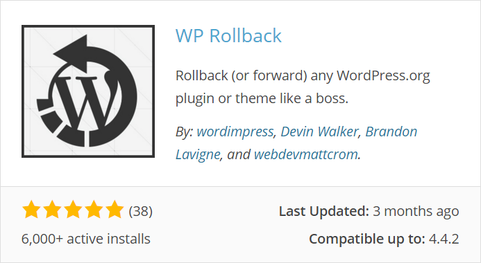 WP Rollback WordPress Plugin