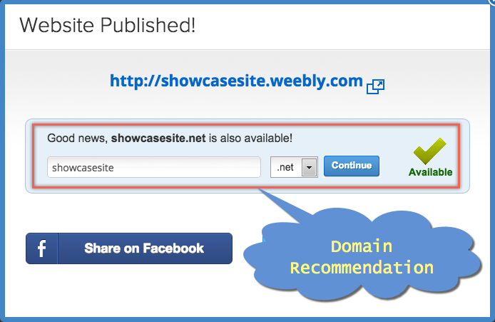 Weebly Domain Buy Recommendation During Publishing