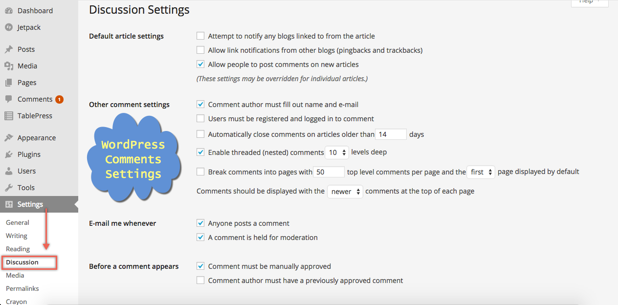 WordPress Comments Settings