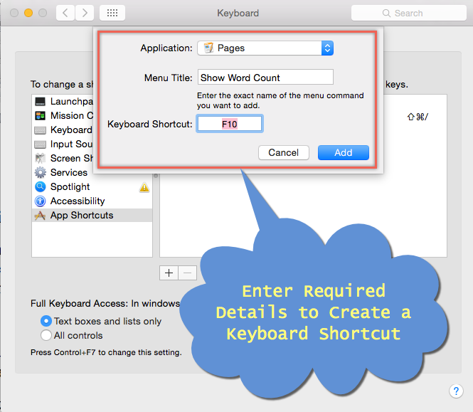 Adding Details to Create a Keyboard Shortcut in macOS