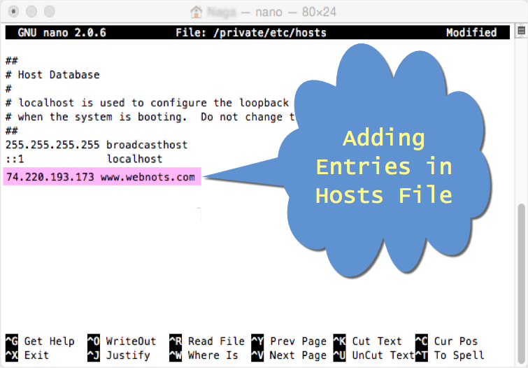 Adding Entries in Hosts File in Mac
