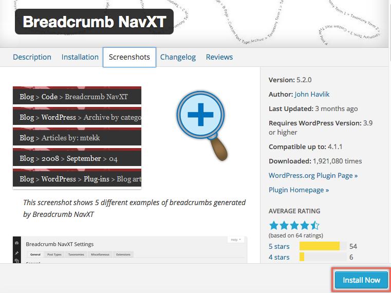Плагин Breadcrumb NavXT для WordPress