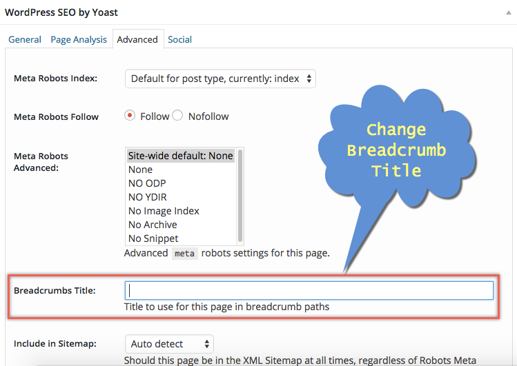 Changing Breadcrumb Title in Yoast WordPress SEO Plugin