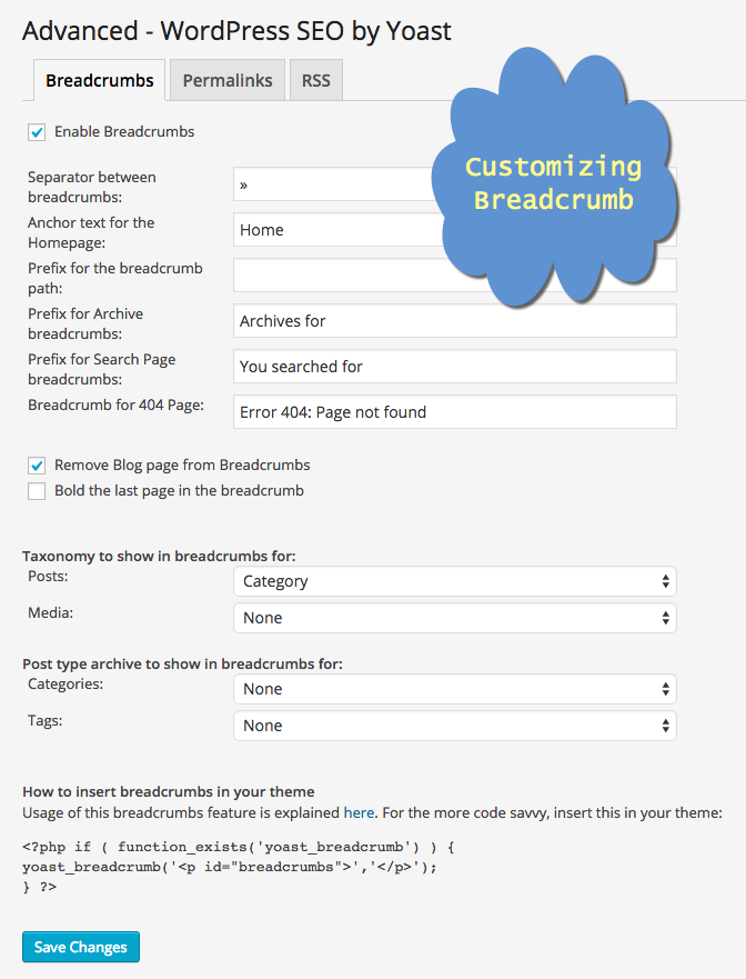 Customizing Breadcrumb in Yoast WordPress SEO Plugin