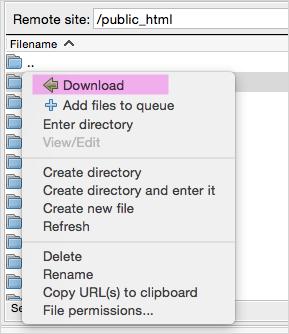 Скачать файлы сайта WordPress с помощью FTP