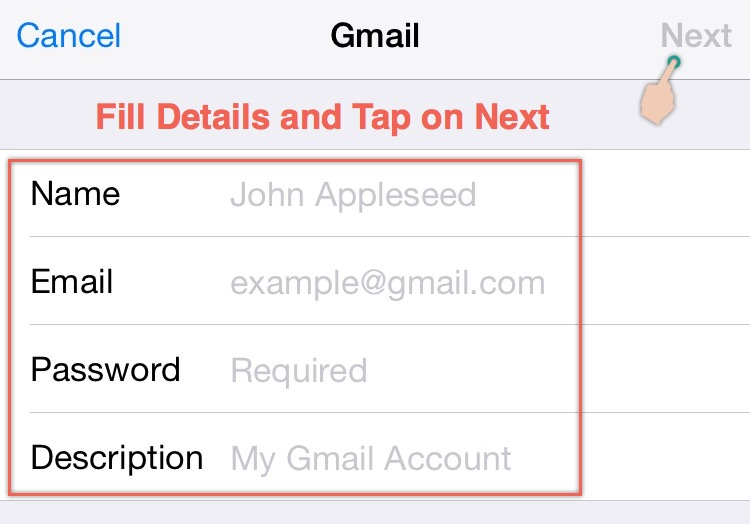 Enter Gmail Credentials