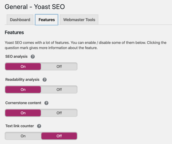 General Section of Yoast SEO