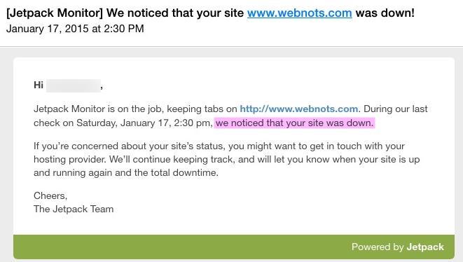 Jetpack Site Down Notification