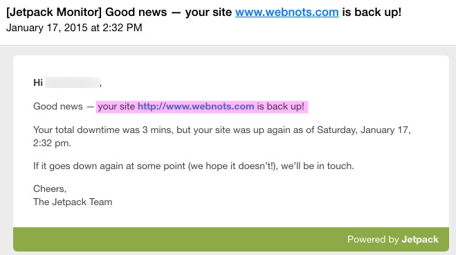 Jetpack Site Up Notification Email