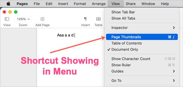 Shortcut Showing in Menu