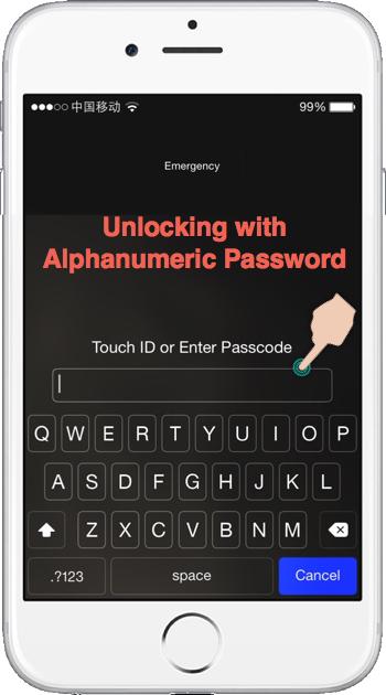 Unlocking iPhone with Alphanumeric Password