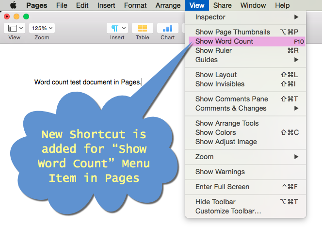 View Created Shortcut in Pages