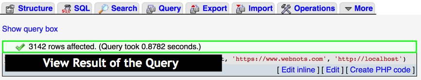 View Result of the Query