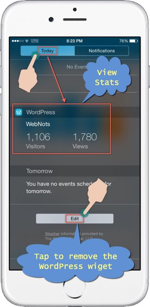 View WordPress Site Stats on iPhone Today Notification Screen