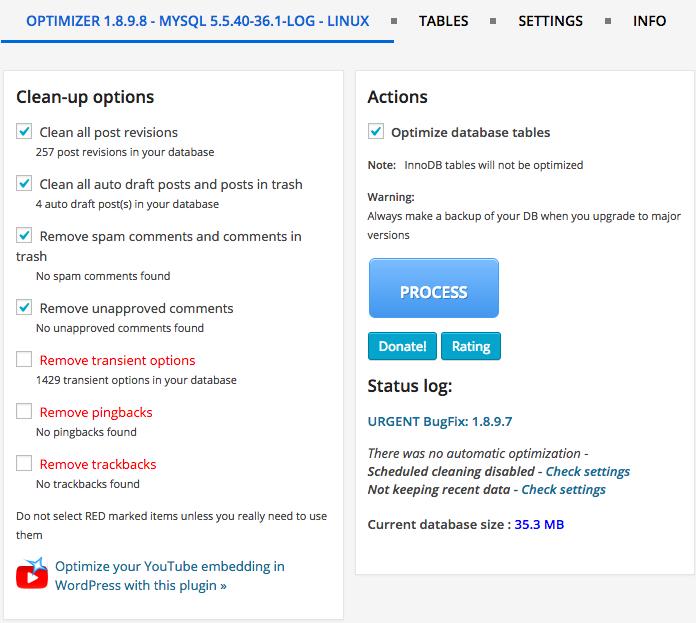 WP-Optimize Plugin Optimizer Options