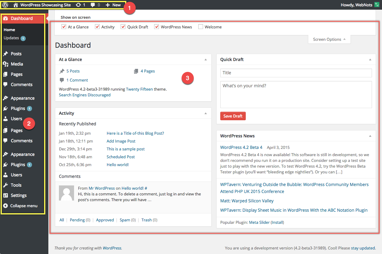 WordPress Admin Interface Screen
