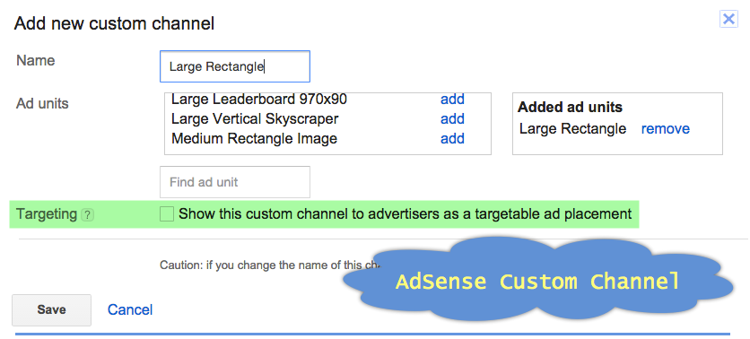 Assign AdSense Ad to Custom Channel
