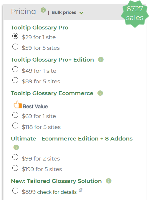 CM Glossary Plugin Pricing