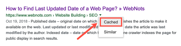 Cached Option in Google Search