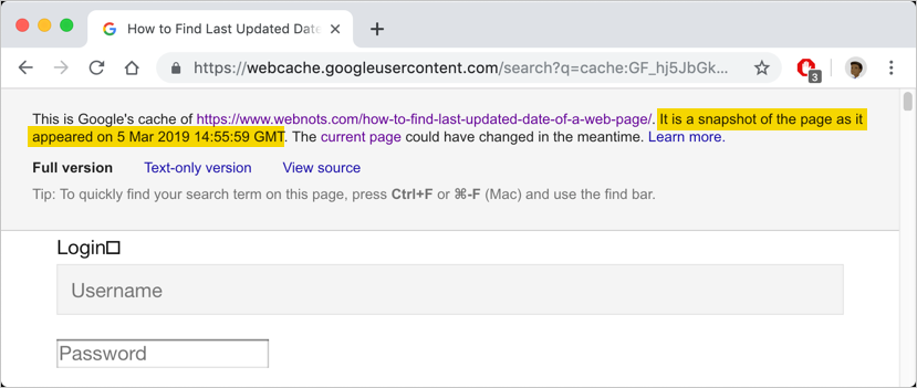 Check Cached Date in Google