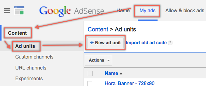 Creating New AdSense Ad Unit
